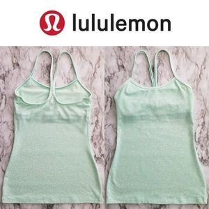 Lululemon Power Y Tank, Green/White Dot, Size 2